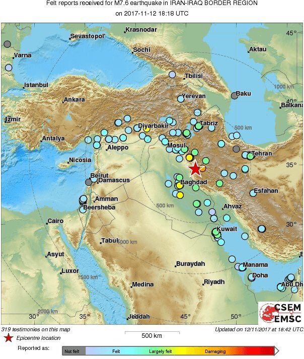 Suleymaniyah earthquake impact map