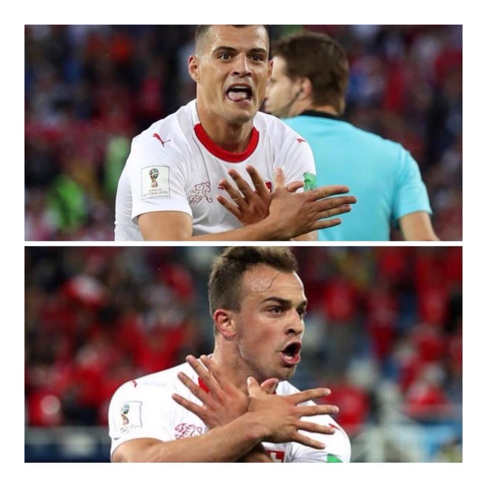 Xhaka and Shaqiri Albanian eagle gesture