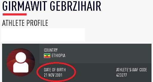 Girmawit Gebrzihair date of birth