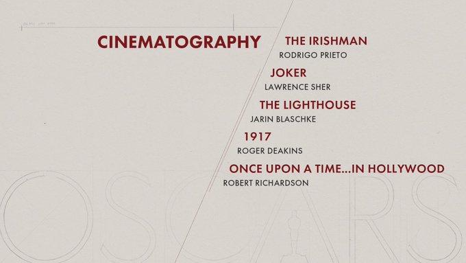 oscar 2020 nominees cinematography