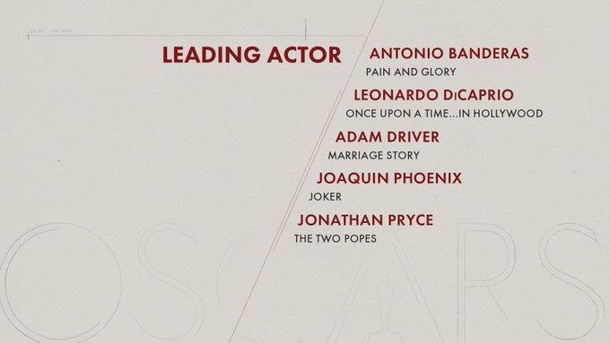 oscar 2020 nominees leading actor
